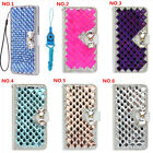 Bling Crystal fashion Leather slots Wallet Flip Protective Case Cover& strap #u