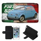 Personalised Fiat 500 iPhone Flip Case Classic Car Phone Cover CL06