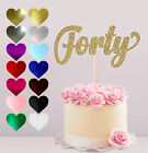 40 AGE FORTY BIRTHDAY, GLITTER CAKE CARD TOPPER, VARIOUS COLOURS