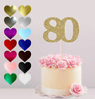 80TH HAPPY BIRTHDAY, GLITTER CAKE CARD TOPPER, VARIOUS COLOURS