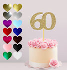 60TH HAPPY BIRTHDAY, GLITTER CAKE CARD TOPPER, VARIOUS COLOURS