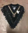 Ladies Fancy Beaded & Fringed Suede Leather Poncho HUGE CLOSEOUT SALE NEW LV4