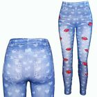 Design Mädchen Leggings Stretch Hose Jeans Look Kinder Leggins Treggins 98-164