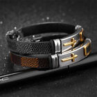 Classic Stainless Steel Cross Bracelet For Men Simple Black/Brown Leather UK