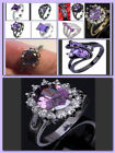 Women Purple Amethyst Black Gold/Silver/ Gold Plated Ring Size 6 7 8 9 10 11 image