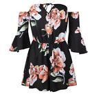 Jumpsuit Summer Sexy Off Shoulder Floral Short Rompers Women Boot Cut Overalls