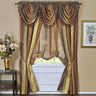 Autumn Striped Modern Semi Sheer Light Filtering Window Curtain Drape Full Set