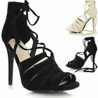 Ladies Womens Cut Out Lace Up High Heel Strappy Peep Toe Sandals Shoes Boots