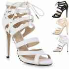Ladies Womens Stiletto High Heel Ankle Strap Peep Toe Lace Up Sandals Shoes