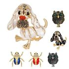 Cute Lucky Alloy Crystal Rhinestone Enamel Owl Dog Animals Insects Pins Brooch