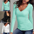 Comfy Women Lady Basic Long Sleeve Solid V-neck Stretch Top T Shirt Blouses
