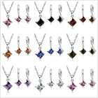 Square Cz Wedding Engagement Jewelry Sets Delicated Austrian Crystal Women Gift