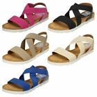 Womens Down To Earth Rounded Toe Cushioned Footbed Elastic X Strap Mules f1R0323