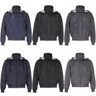 Mens Reversible 4 in 1 Detachable Hood Bomber Biker Zip Parka Jacket Sweat Coat