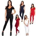 Womens Ladies Cut Sleeve Off Shoulder Tailored Plunge V Neck Jumpsuit Playsuit