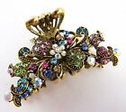 "Multi-color Crystal Bronze Metal Alloy Flower Hair Claws Clip (2.5"") BESSELLER"