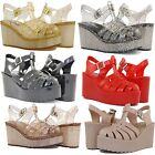Jelly Sandals High Wedge Heels Design Comfortable Shoes Cute Glitter Style