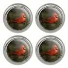 Northern Cardinal Red Pine Perch Metal Craft Sewing Novelty Buttons - Set of 4