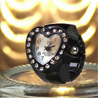 Women Lady Candy Colors Love Heart Crystal Numeral Quartz Ring Watch