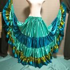 Mix Satin 5 Tiered Gypsy Skirt Belly Dance Jupe 25 Yd Flamenco Frill Ruffle TTO