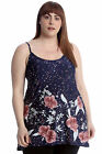 New Womens Plus Size Top Ladies Swing Cami Sleeveless Floral Print A-Line Style
