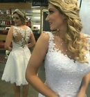 Short Knee Ivory White Lace Wedding Dresses Length Beach Bridal Gown Custom size