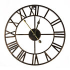 Vintage Wall Hanging Clock Big Roman Numerals Giant Open Face Hollow Iron 40cm