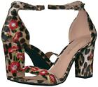 NEW Madden Girl BEHAVE Dress Sandal Leopard Floral Embroidered Velvet Block