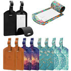 2 Pcs Travel Leather Plane Luggage Tags Suitcase Label Name Address W/Back Cover