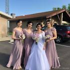 Country Bridesmaid Dresses Purple V Neck Chiffon Maid of Honor Gowns 2 4 6 A644