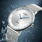 Mens Luxury Ultra Quartz Analog Minimalist Slim Mesh Stainless Steel Wrist Watch image