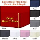 """Plain Extra Deep Fitted Sheets 40cm 16"""" Single 4ft Small Double Super King Sizes image"""