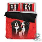Valentine's Day Special Bernese Mountain Dog Red Print Bedding Set