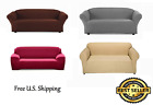 FURNITURE SOLID STRETCH SLIP COVER FOR SOFA, LOVE SEAT 3 DIFFERENT COLORS