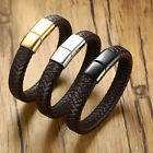 Vintage Mens Biker Braided Weave Leather Bracelet Charm Magnetic Clasp Wristband