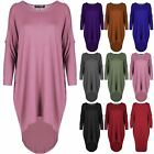 Womens Oversize Ladies Dip Hem Cold Cut Out Shoulder Baggy Oversized Hi Lo Dress