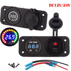 New Auto Car Boat 12/24V USB Outlet Phone Charger & Voltmeter Panel Mount Marine