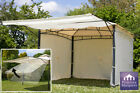 Ivory Metal Gazebo 3m x 3m Clevedon with Awning & Side Walls Party Tent Marquee