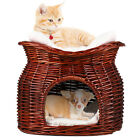 M Size Wicker Basket Cat Bed Cave Small Dog Puppy Rattan House with Cushion Mat