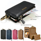 Floveme Flip Card Magnetic Zipper Leather Wallet Case For iPhone Samsung Galaxy