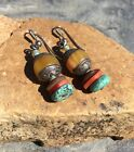 VTG OLD SILVER BUTTERSCOTCH AMBER TURQUOISE DROP PIERCE EARRINGS