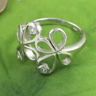 Sassi AR7306 Ladies 925 Sterling Silver Flower Design White Stone Set Ring