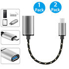 Aluminum Alloy Braided Micro USB Male to USB Female OTG Adapter Cable Cord