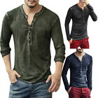 Fashion Mens' Henley T-Shirts Long Sleeve V Neck With Button Slim Fit T-Shirts