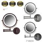 """Ovente 7"""" Wall Mounted LED Lighted Magnifying Makeup Mirror Battery Operated"""