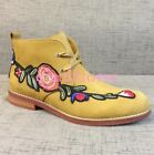Mens Floral Cowboy Pointy Toe Chelsea Suede Leather British Style Ankle Boots SZ