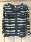 NWT Sigrid Olsen Size Small Button Up Blue,White,Gray Cardigan,Sweater MSRP $129