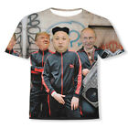 Funny 3D Print Putin Donald Trump And Kim Jong Un Short Sleeve Casual T-Shirt  image
