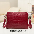 Women's Genuine Cow Leather Crocodile Messenger Bags Small Shoulder Bag Handbag