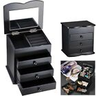 Jewelry Storage Box Case Built-in Mirror Watch Ring Earring Necklace Organizer